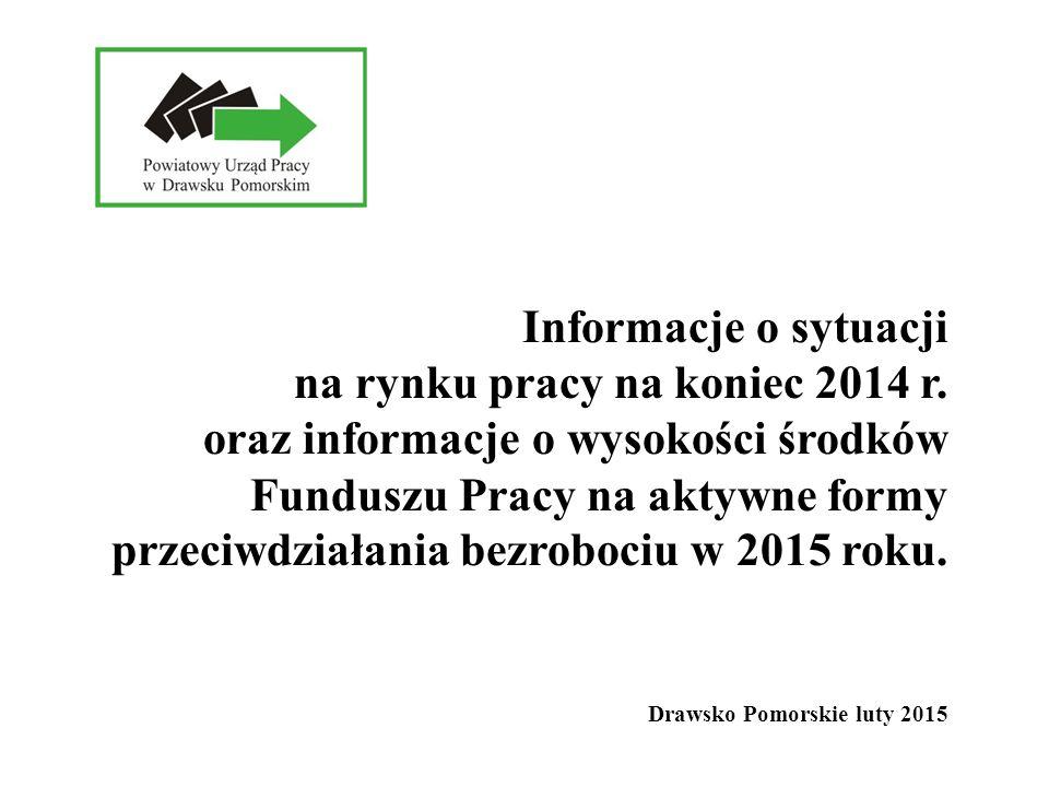 Informacje o sytuacji na rynku pracy na koniec 2014 r. oraz informacje o wysokości środków Funduszu Pracy na aktywne formy przeciwdziałania bezrobociu