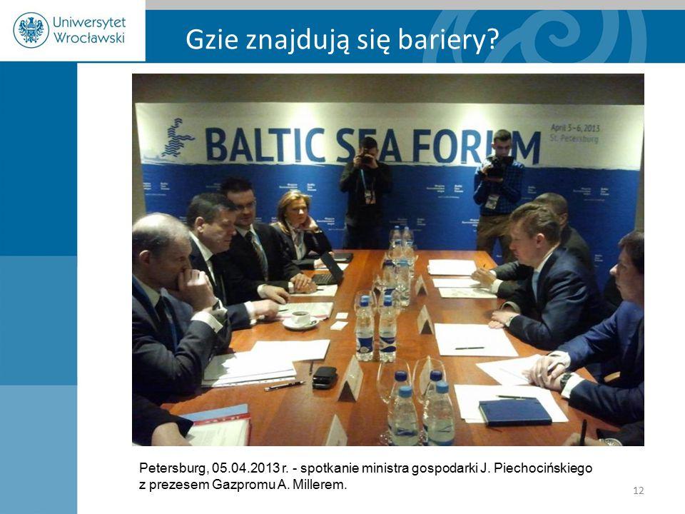 Gzie znajdują się bariery? Petersburg, 05.04.2013 r. - spotkanie ministra gospodarki J. Piechocińskiego z prezesem Gazpromu A. Millerem. 12