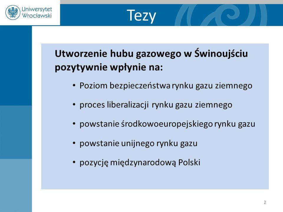 Tezy Utworzenie hubu gazowego w Świnoujściu pozytywnie wpłynie na: Poziom bezpieczeństwa rynku gazu ziemnego proces liberalizacji rynku gazu ziemnego