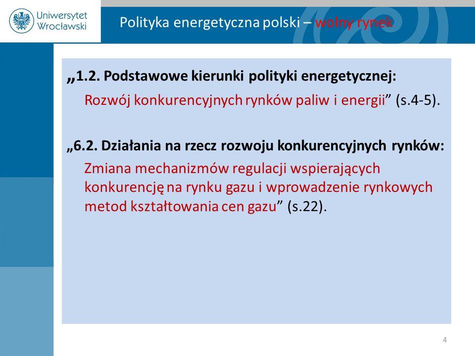 """Polityka energetyczna polski – wolny rynek """" 1.2. Podstawowe kierunki polityki energetycznej: Rozwój konkurencyjnych rynków paliw i energii"""" (s.4-5)."""