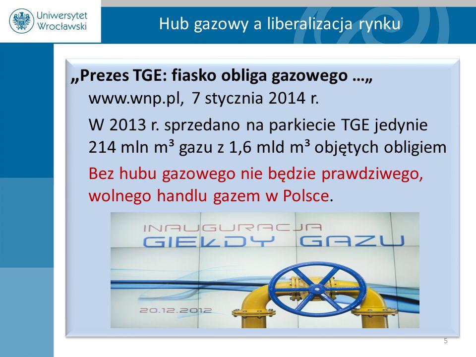 """Hub gazowy a liberalizacja rynku 5 """" Prezes TGE: fiasko obliga gazowego …"""" www.wnp.pl, 7 stycznia 2014 r. W 2013 r. sprzedano na parkiecie TGE jedynie"""