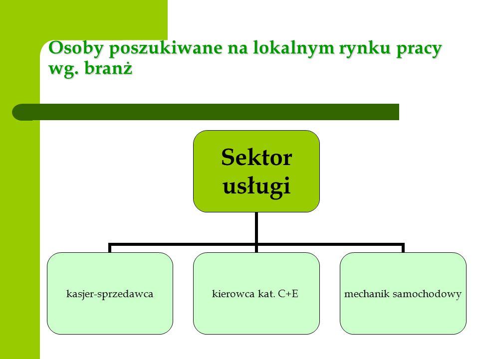 Osoby poszukiwane na lokalnym rynku pracy wg. branż Sektor usługi kasjer- sprzedawca kierowca kat.