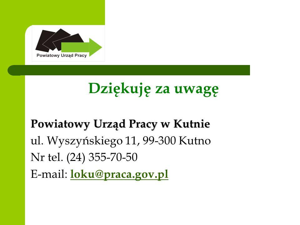 Dziękuję za uwagę Powiatowy Urząd Pracy w Kutnie ul.