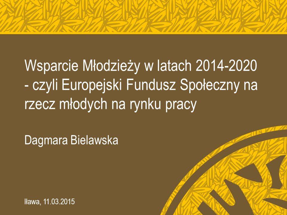 Wsparcie Młodzieży w latach 2014-2020 - czyli Europejski Fundusz Społeczny na rzecz młodych na rynku pracy Dagmara Bielawska Iława, 11.03.2015