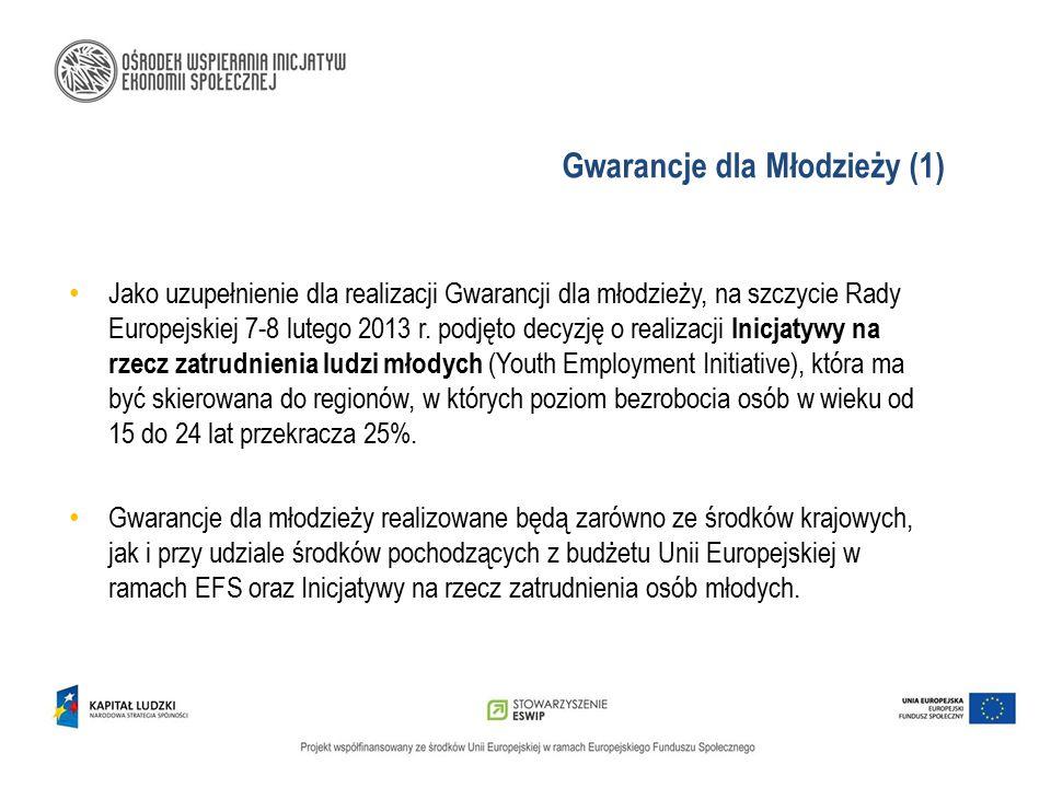 Gwarancje dla Młodzieży (1) Jako uzupełnienie dla realizacji Gwarancji dla młodzieży, na szczycie Rady Europejskiej 7-8 lutego 2013 r. podjęto decyzję