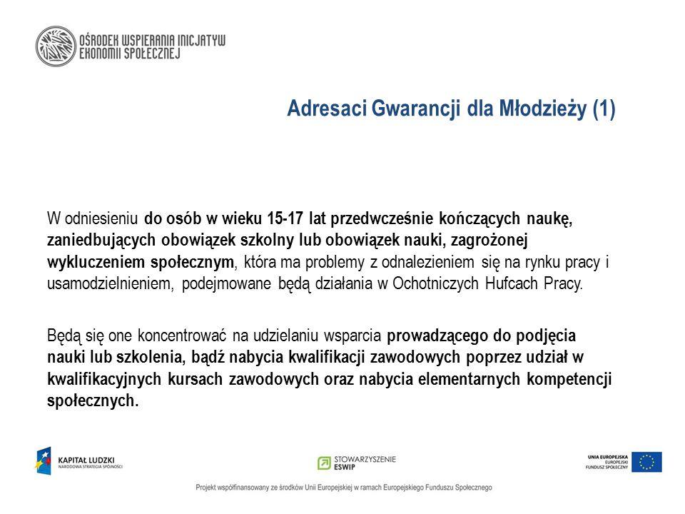 Adresaci Gwarancji dla Młodzieży (1) W odniesieniu do osób w wieku 15-17 lat przedwcześnie kończących naukę, zaniedbujących obowiązek szkolny lub obow