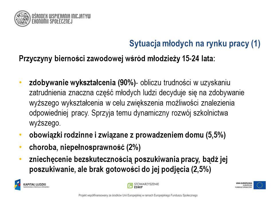 Sytuacja młodych na rynku pracy (2) Skutki bierności zawodowej wśród młodzieży 15-24 lata: bezrobocie młodzieży uzależnienie materialne od rodziców wydłużenie czasu podejmowania decyzji o założeniu rodziny niskie współczynniki dzietności w Polsce postępujące starzenie się społeczeństwa konflikty z prawem, uzależnienia, eskalacje niezadowolenia młodych ludzi w demonstracjach ulicznych
