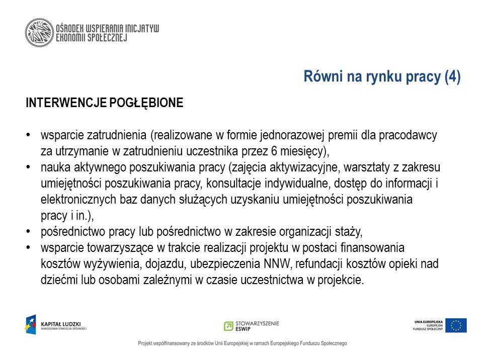 Równi na rynku pracy (4) INTERWENCJE POGŁĘBIONE wsparcie zatrudnienia (realizowane w formie jednorazowej premii dla pracodawcy za utrzymanie w zatrudn
