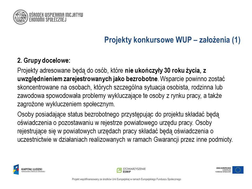Projekty konkursowe WUP – założenia (1) 2. Grupy docelowe: Projekty adresowane będą do osób, które nie ukończyły 30 roku życia, z uwzględnieniem zarej