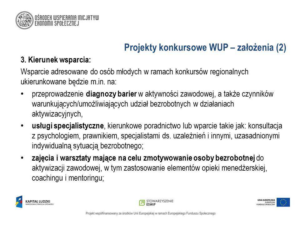 Projekty konkursowe WUP – założenia (2) 3. Kierunek wsparcia: Wsparcie adresowane do osób młodych w ramach konkursów regionalnych ukierunkowane będzie