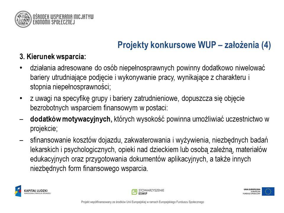 Projekty konkursowe WUP – założenia (4) 3. Kierunek wsparcia: działania adresowane do osób niepełnosprawnych powinny dodatkowo niwelować bariery utrud