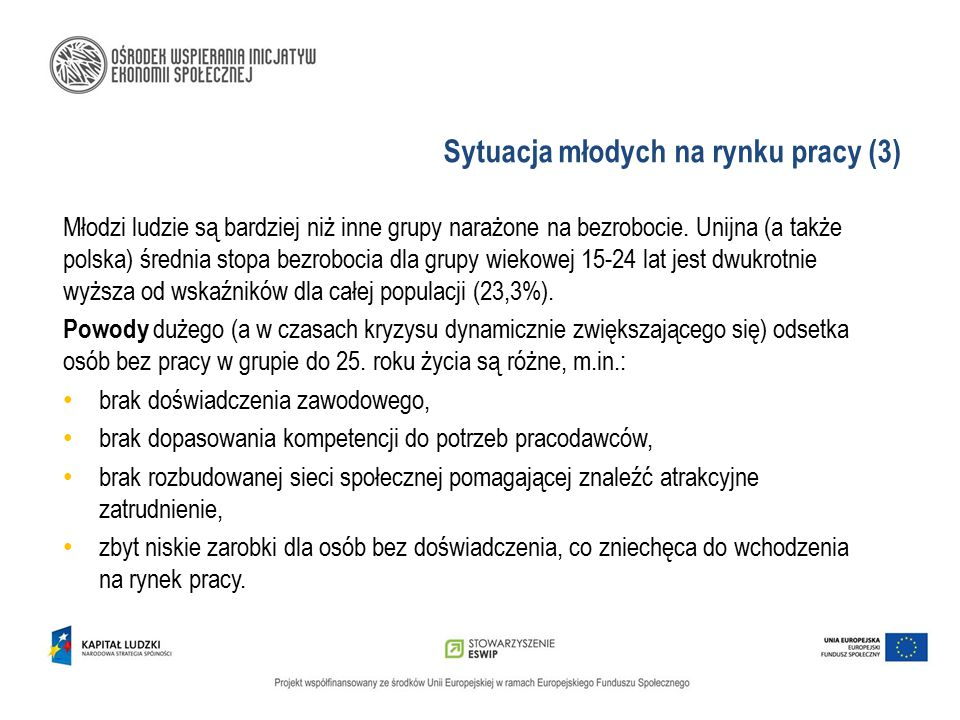 Sytuacja młodych na rynku pracy (3) Młodzi ludzie są bardziej niż inne grupy narażone na bezrobocie. Unijna (a także polska) średnia stopa bezrobocia
