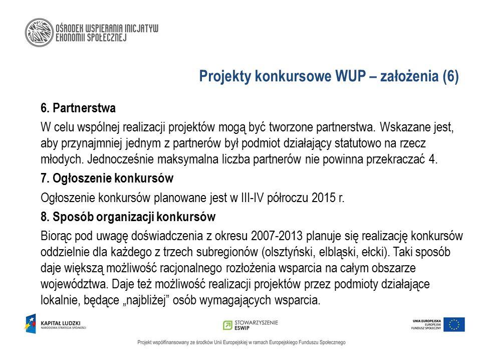 Projekty konkursowe WUP – założenia (6) 6. Partnerstwa W celu wspólnej realizacji projektów mogą być tworzone partnerstwa. Wskazane jest, aby przynajm