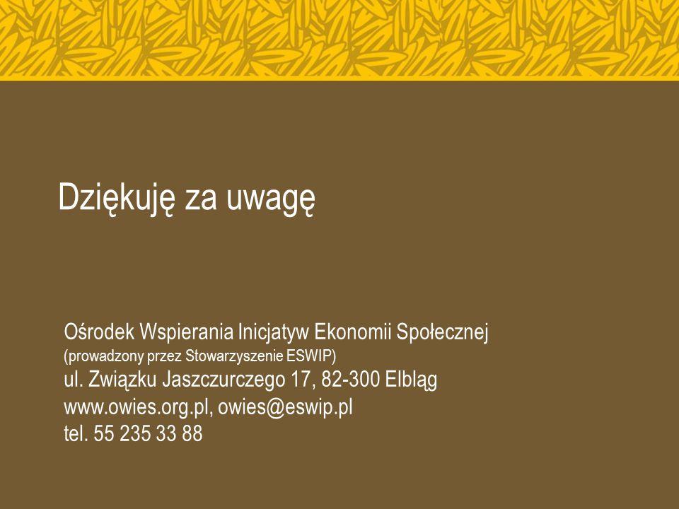 Dziękuję za uwagę Ośrodek Wspierania Inicjatyw Ekonomii Społecznej (prowadzony przez Stowarzyszenie ESWIP) ul. Związku Jaszczurczego 17, 82-300 Elbląg
