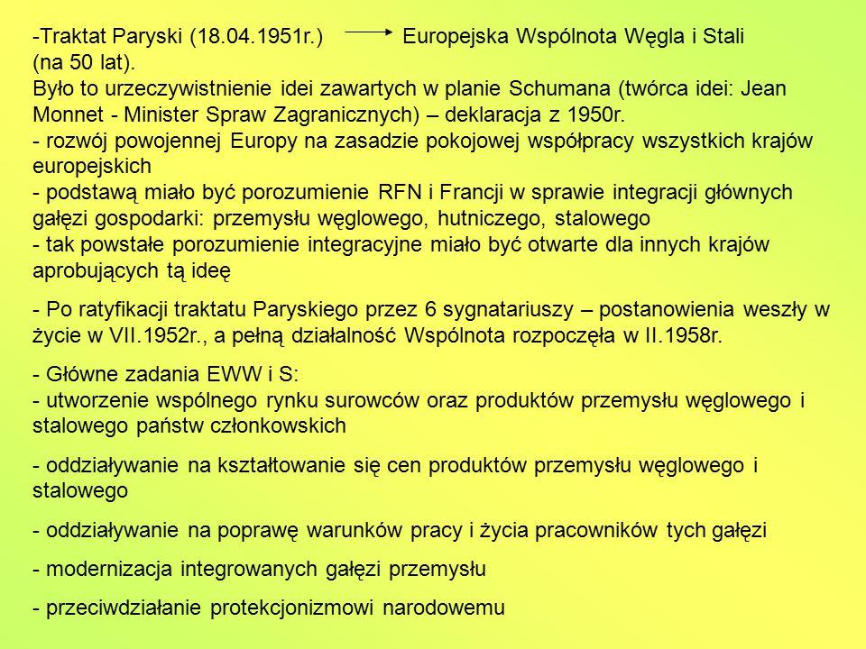 -Traktat Paryski (18.04.1951r.) Europejska Wspólnota Węgla i Stali (na 50 lat). Było to urzeczywistnienie idei zawartych w planie Schumana (twórca ide