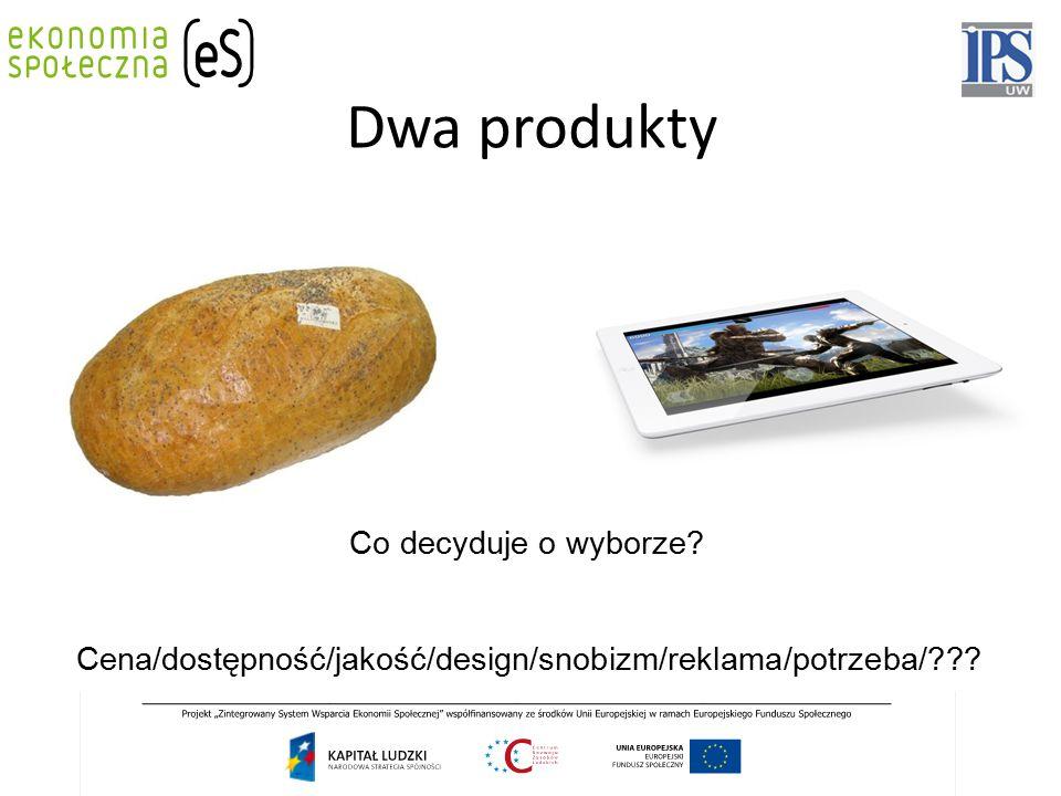 Dwa produkty Co decyduje o wyborze? Cena/dostępność/jakość/design/snobizm/reklama/potrzeba/???