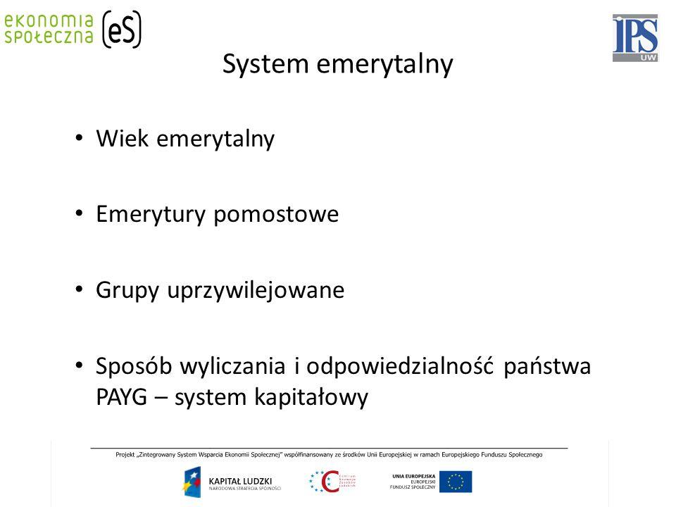 System emerytalny Wiek emerytalny Emerytury pomostowe Grupy uprzywilejowane Sposób wyliczania i odpowiedzialność państwa PAYG – system kapitałowy