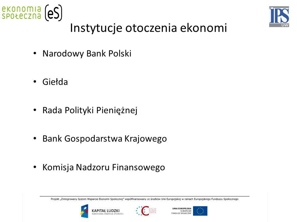 Instytucje otoczenia ekonomi Narodowy Bank Polski Giełda Rada Polityki Pieniężnej Bank Gospodarstwa Krajowego Komisja Nadzoru Finansowego