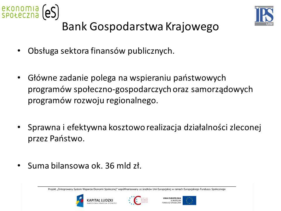 Bank Gospodarstwa Krajowego Obsługa sektora finansów publicznych. Główne zadanie polega na wspieraniu państwowych programów społeczno-gospodarczych or