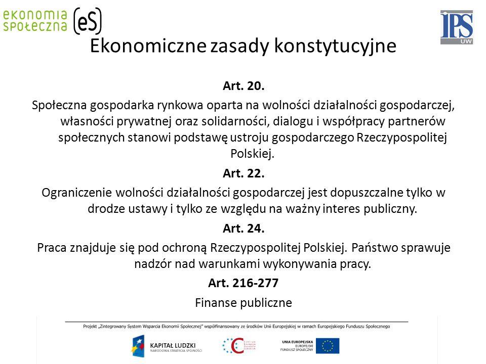 Ekonomiczne zasady konstytucyjne Art. 20. Społeczna gospodarka rynkowa oparta na wolności działalności gospodarczej, własności prywatnej oraz solidarn