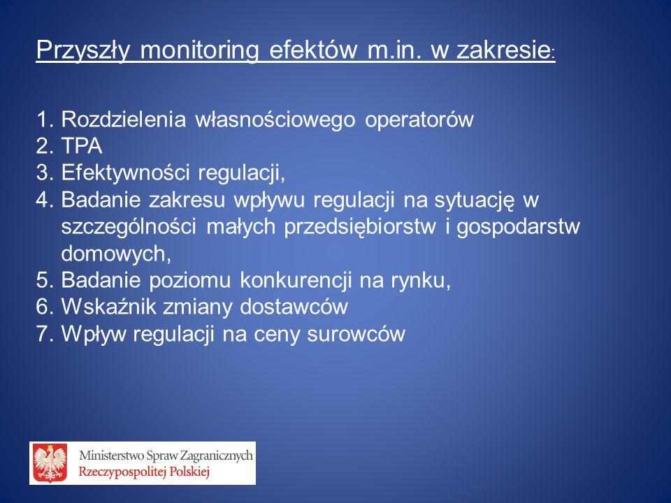Przyszły monitoring efektów m.in. w zakresie : 1.Rozdzielenia własnościowego operatorów 2.TPA 3.Efektywności regulacji, 4.Badanie zakresu wpływu regul