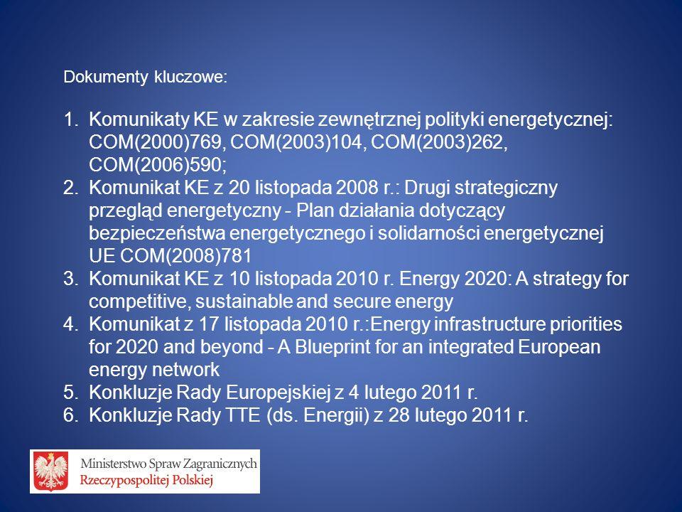 Dokumenty kluczowe: 1.Komunikaty KE w zakresie zewnętrznej polityki energetycznej: COM(2000)769, COM(2003)104, COM(2003)262, COM(2006)590; 2.Komunikat KE z 20 listopada 2008 r.: Drugi strategiczny przegląd energetyczny - Plan działania dotyczący bezpieczeństwa energetycznego i solidarności energetycznej UE COM(2008)781 3.Komunikat KE z 10 listopada 2010 r.