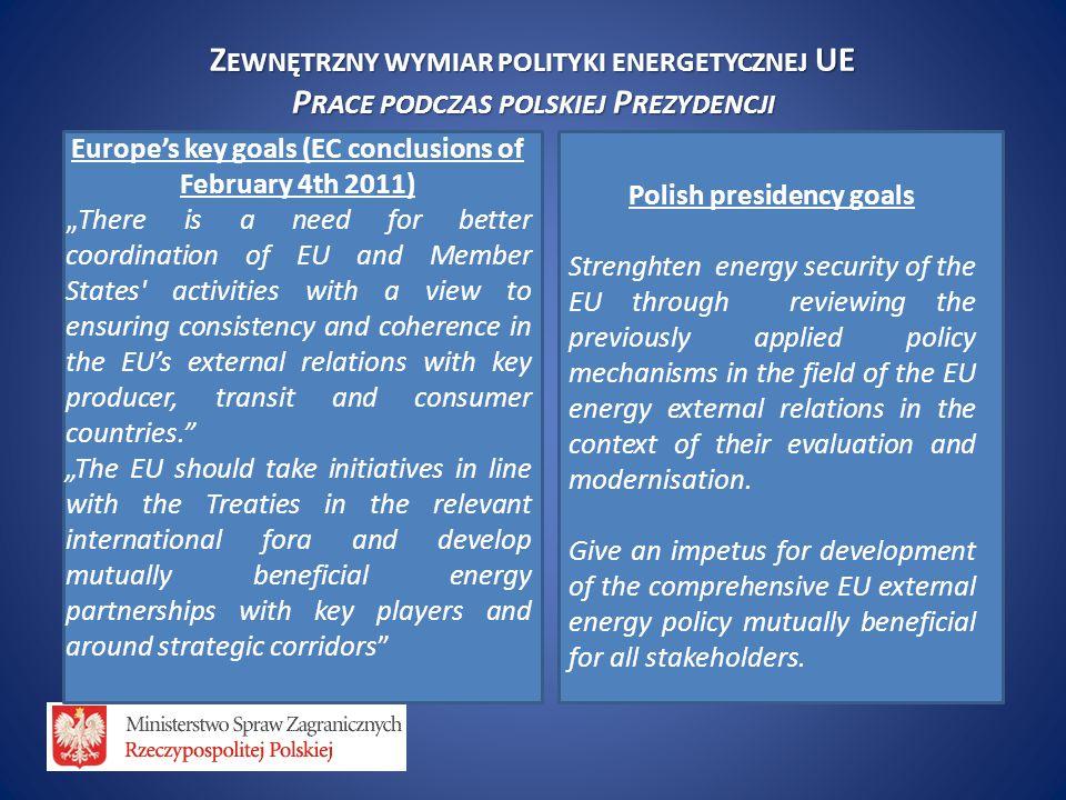 """Z EWNĘTRZNY WYMIAR POLITYKI ENERGETYCZNEJ UE P RACE PODCZAS POLSKIEJ P REZYDENCJI Europe's key goals (EC conclusions of February 4th 2011) """"There is a"""