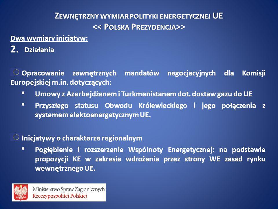 Z EWNĘTRZNY WYMIAR POLITYKI ENERGETYCZNEJ UE > > Dwa wymiary inicjatyw: 2. Działania Opracowanie zewnętrznych mandatów negocjacyjnych dla Komisji Euro