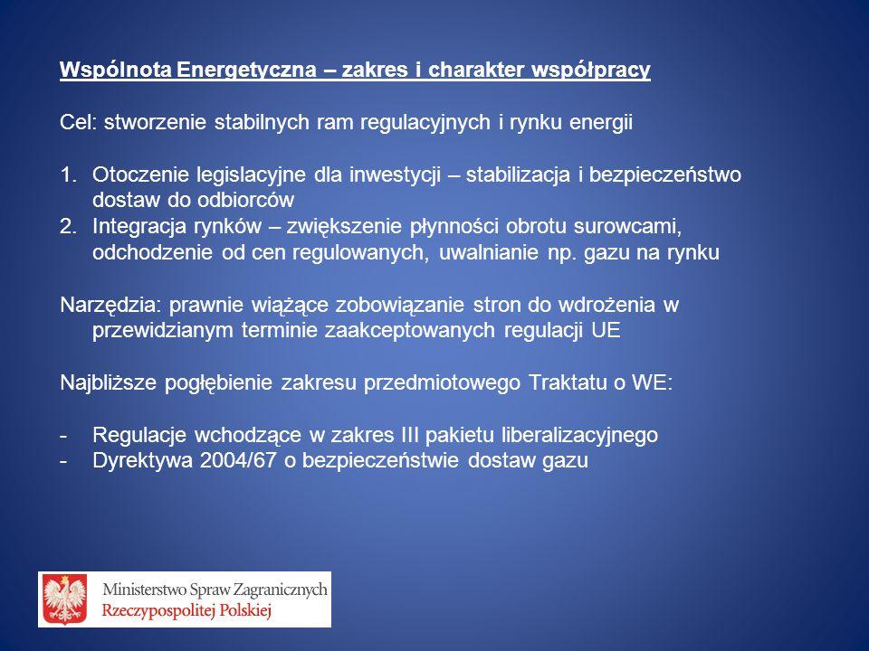Wspólnota Energetyczna – zakres i charakter współpracy Cel: stworzenie stabilnych ram regulacyjnych i rynku energii 1.Otoczenie legislacyjne dla inwes