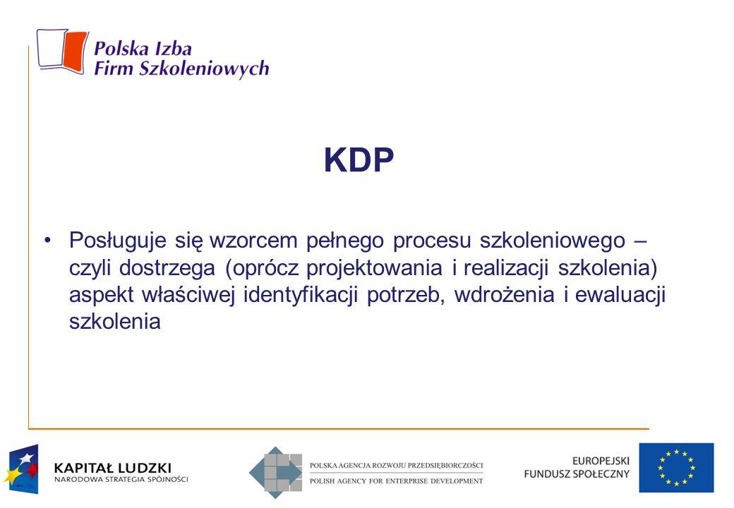KDP Posługuje się wzorcem pełnego procesu szkoleniowego – czyli dostrzega (oprócz projektowania i realizacji szkolenia) aspekt właściwej identyfikacji