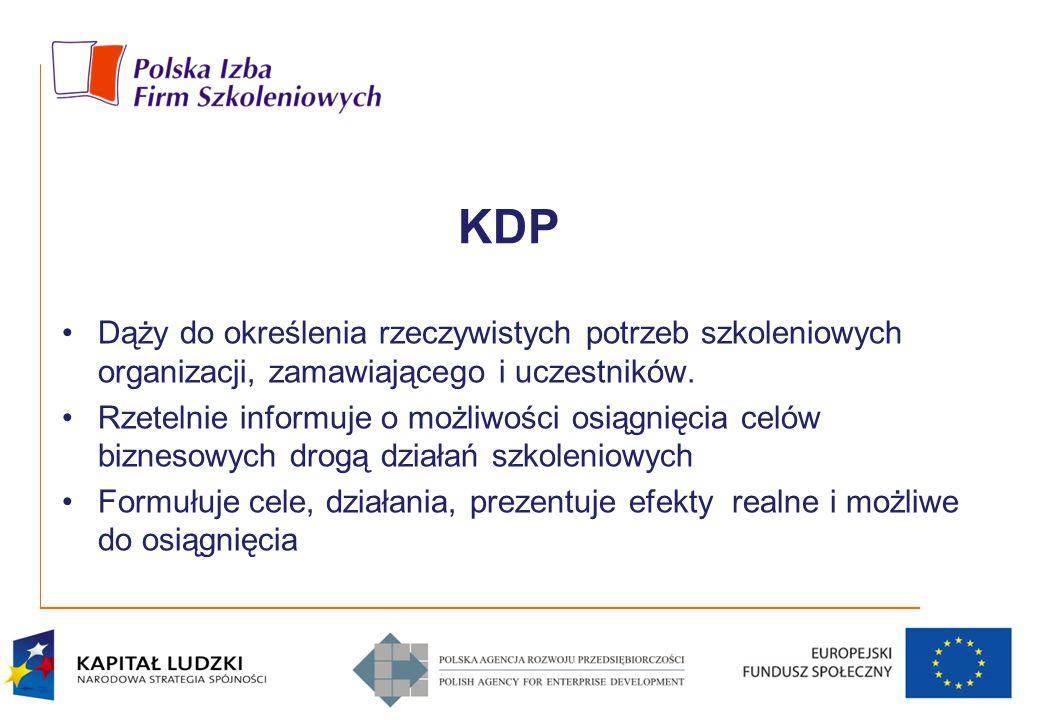 KDP Dąży do określenia rzeczywistych potrzeb szkoleniowych organizacji, zamawiającego i uczestników. Rzetelnie informuje o możliwości osiągnięcia celó