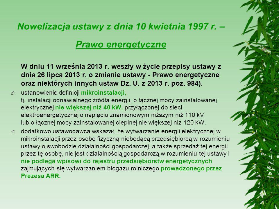 Nowelizacja ustawy z dnia 10 kwietnia 1997 r. – Prawo energetyczne W dniu 11 września 2013 r. weszły w życie przepisy ustawy z dnia 26 lipca 2013 r. o