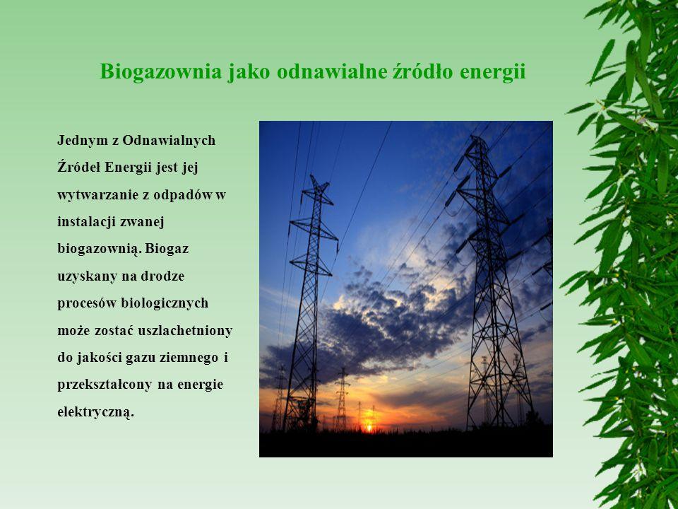 Biogazownia jako odnawialne źródło energii Jednym z Odnawialnych Źródeł Energii jest jej wytwarzanie z odpadów w instalacji zwanej biogazownią. Biogaz