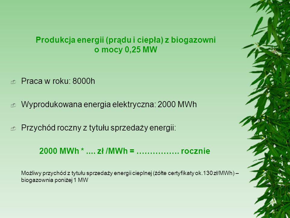 Produkcja energii (prądu i ciepła) z biogazowni o mocy 0,25 MW  Praca w roku: 8000h  Wyprodukowana energia elektryczna: 2000 MWh  Przychód roczny z
