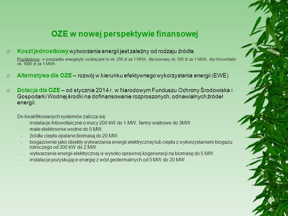 OZE w nowej perspektywie finansowej  Koszt jednostkowy wytworzenia energii jest zależny od rodzaju źródła Przykładowo: w przypadku energetyki wodnej