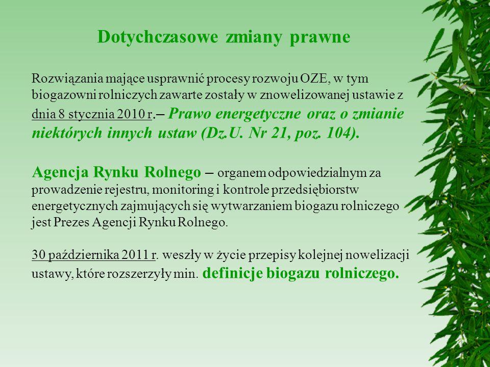 Dotychczasowe zmiany prawne Rozwiązania mające usprawnić procesy rozwoju OZE, w tym biogazowni rolniczych zawarte zostały w znowelizowanej ustawie z d