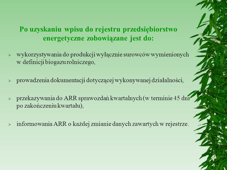 Potencjał polskiego rolnictwa produkcji biogazu (wg Prezesa Krajowej Rady Izb Rolniczych Wiktora Szmulewicza) Z 1 m 3 płynnych odchodów można uzyskać średnio 20 m 3 a z 1 m 3 obornika 30 m 3 biogazu o wartości energetycznej ok.23 MJ/ m 3.