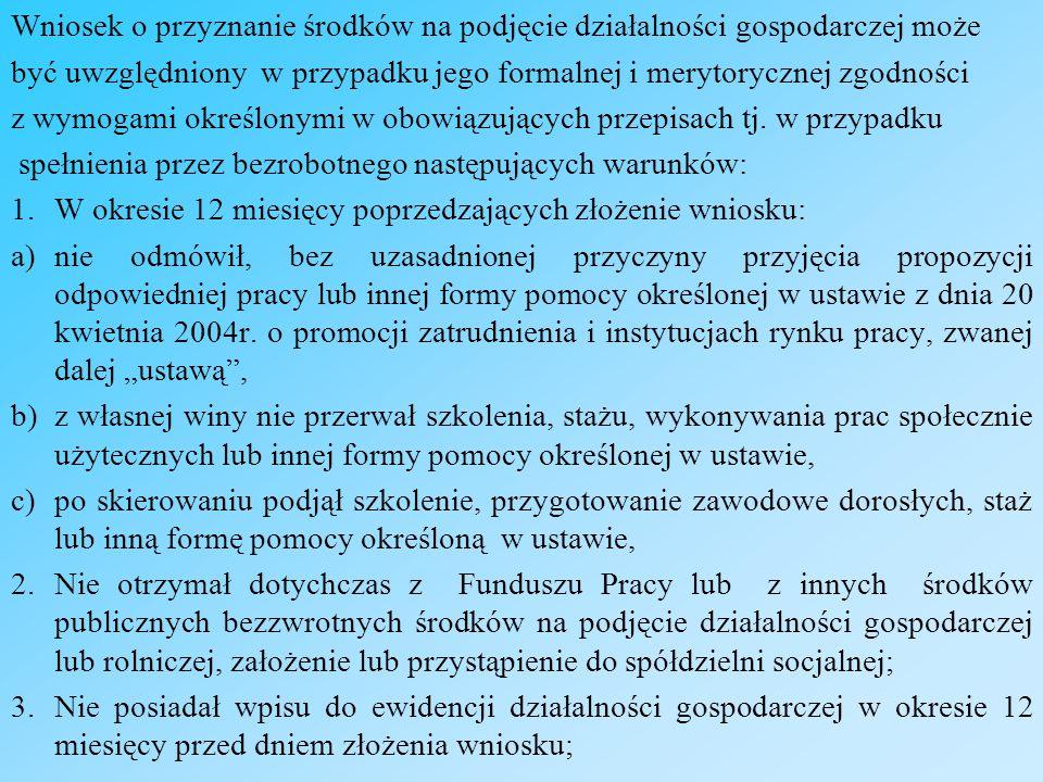 4.Spełnia warunki, o których mowa w § 1 ust.2 Rozporządzenia MPiPS z dnia 17.04.2009r.