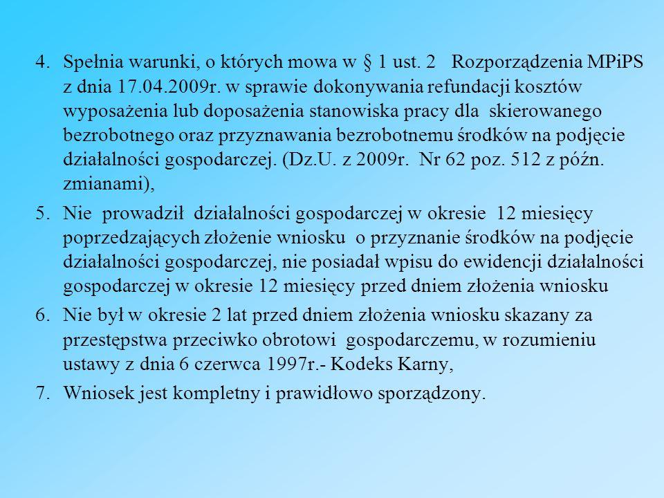 4.Spełnia warunki, o których mowa w § 1 ust. 2 Rozporządzenia MPiPS z dnia 17.04.2009r.