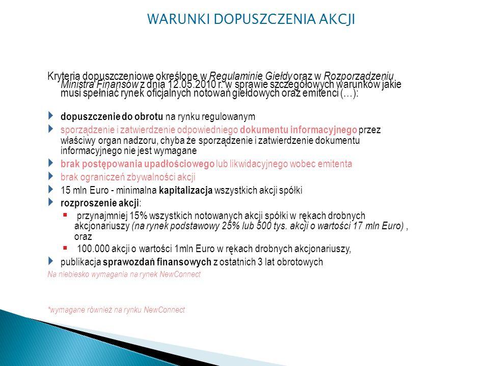 Kryteria dopuszczeniowe określone w Regulaminie Giełdy oraz w Rozporządzeniu Ministra Finansów z dnia 12.05.2010 r.