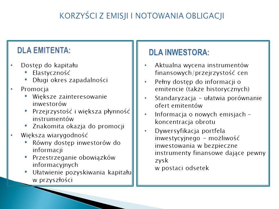 Dostęp do kapitału Elastyczność Długi okres zapadalności Promocja Większe zainteresowanie inwestorów Przejrzystość i większa płynność instrumentów Znakomita okazja do promocji Większa wiarygodność Równy dostęp inwestorów do informacji Przestrzeganie obowiązków informacyjnych Ułatwienie pozyskiwania kapitału w przyszłości DLA INWESTORA: Aktualna wycena instrumentów finansowych/przejrzystość cen Pełny dostęp do informacji o emitencie (także historycznych) Standaryzacja - ułatwia porównanie ofert emitentów Informacja o nowych emisjach – koncentracja obrotu Dywersyfikacja portfela inwestycyjnego - możliwość inwestowania w bezpieczne instrumenty finansowe dające pewny zysk w postaci odsetek KORZYŚCI Z EMISJI I NOTOWANIA OBLIGACJI 37