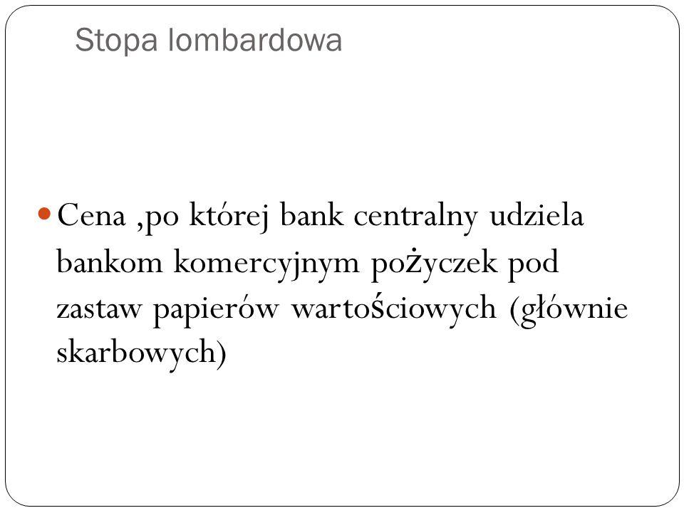 Stopa lombardowa Cena,po której bank centralny udziela bankom komercyjnym po ż yczek pod zastaw papierów warto ś ciowych (głównie skarbowych)