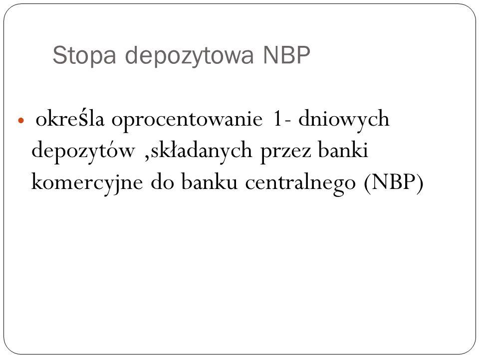 Stopa depozytowa NBP okre ś la oprocentowanie 1- dniowych depozytów,składanych przez banki komercyjne do banku centralnego (NBP)