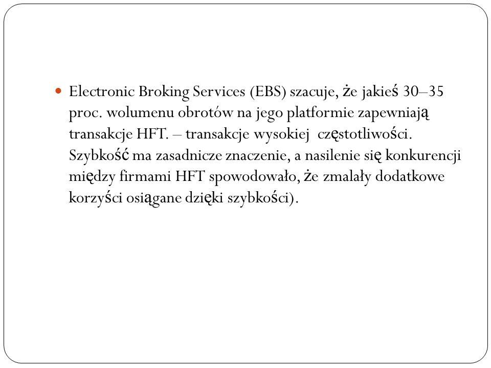 Electronic Broking Services (EBS) szacuje, ż e jakie ś 30–35 proc.
