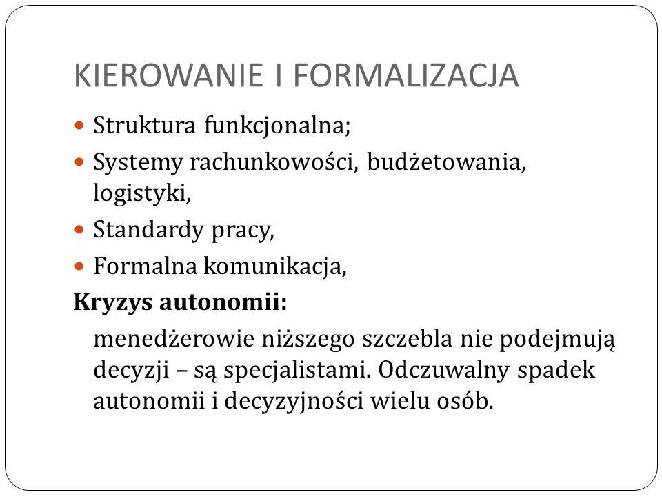 KIEROWANIE I FORMALIZACJA Struktura funkcjonalna; Systemy rachunkowości, budżetowania, logistyki, Standardy pracy, Formalna komunikacja, Kryzys autono