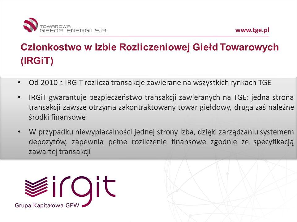 7 Członkostwo w Izbie Rozliczeniowej Giełd Towarowych (IRGiT) Od 2010 r. IRGiT rozlicza transakcje zawierane na wszystkich rynkach TGE IRGiT gwarantuj