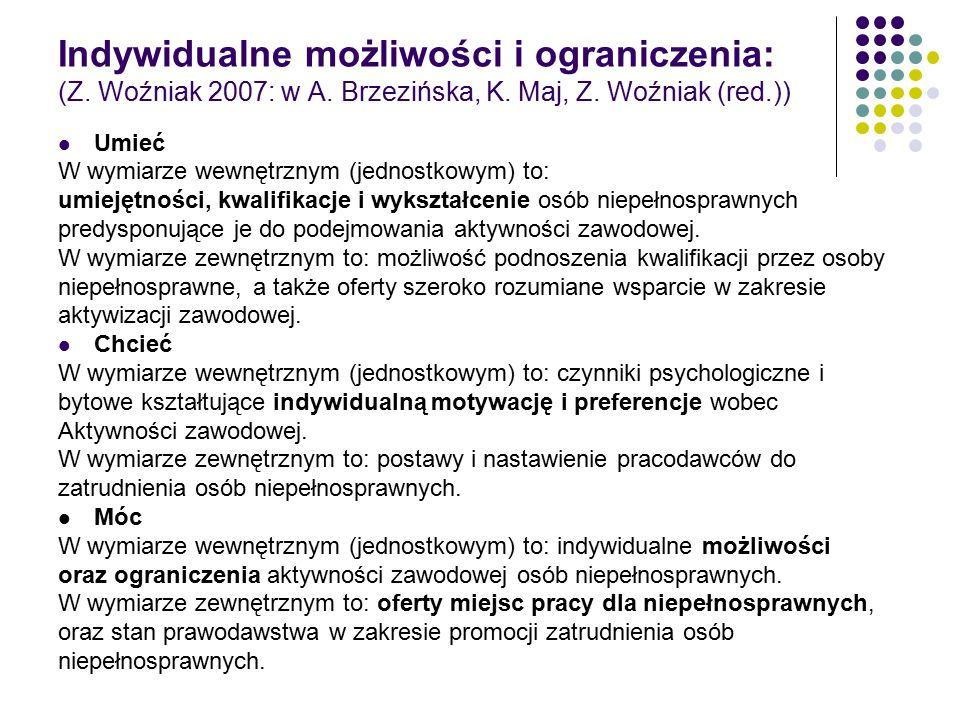Indywidualne możliwości i ograniczenia: (Z. Woźniak 2007: w A. Brzezińska, K. Maj, Z. Woźniak (red.)) Umieć W wymiarze wewnętrznym (jednostkowym) to: