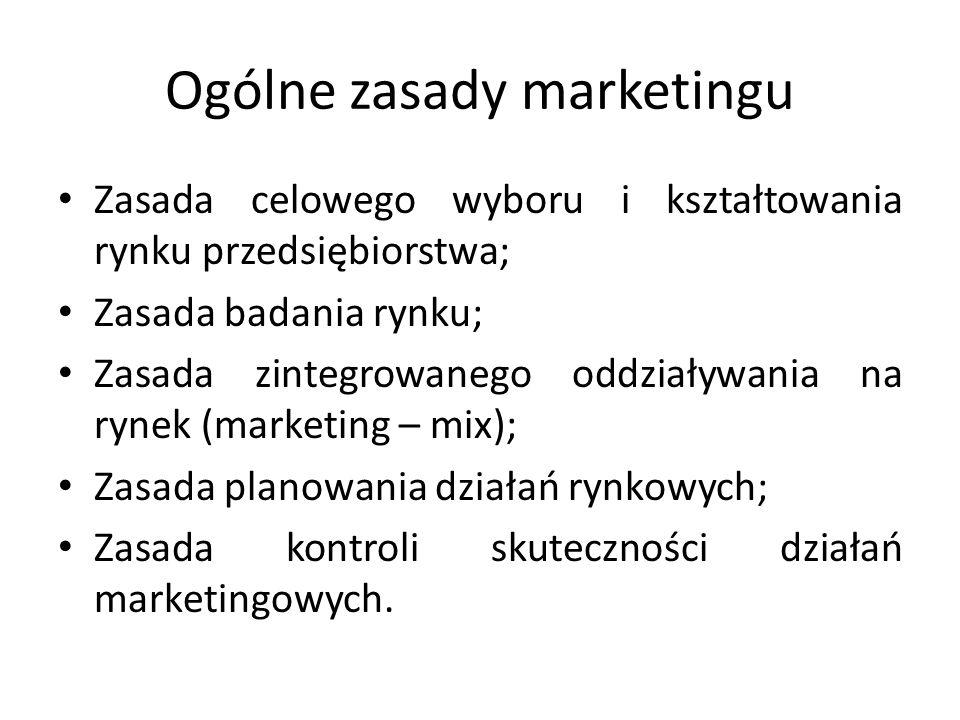 Ogólne zasady marketingu Zasada celowego wyboru i kształtowania rynku przedsiębiorstwa; Zasada badania rynku; Zasada zintegrowanego oddziaływania na r