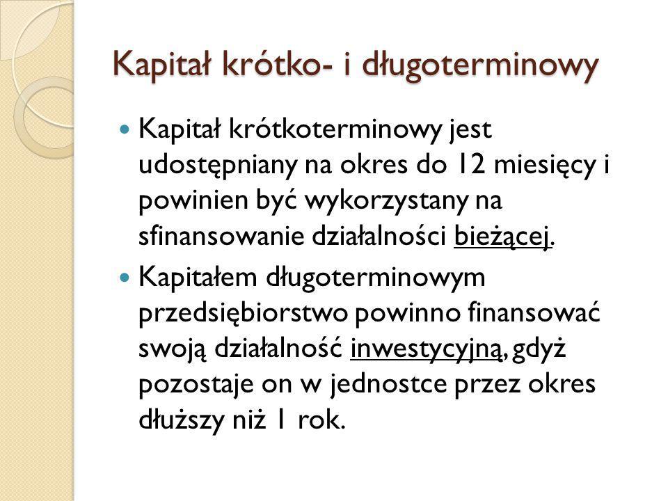 Kapitał krótko- i długoterminowy Kapitał krótkoterminowy jest udostępniany na okres do 12 miesięcy i powinien być wykorzystany na sfinansowanie działalności bieżącej.
