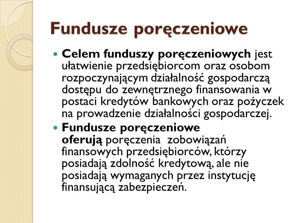 Fundusze poręczeniowe Celem funduszy poręczeniowych jest ułatwienie przedsiębiorcom oraz osobom rozpoczynającym działalność gospodarczą dostępu do zewnętrznego finansowania w postaci kredytów bankowych oraz pożyczek na prowadzenie działalności gospodarczej.